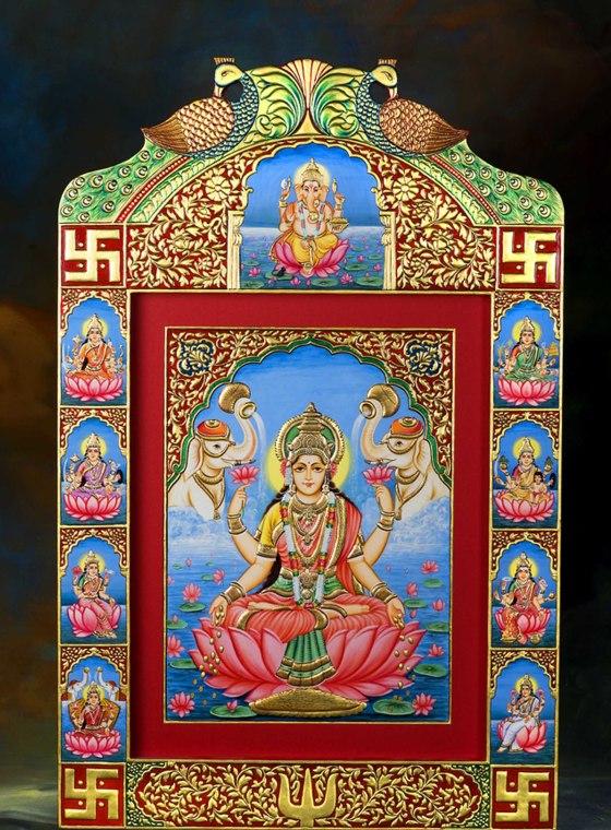 Divine Ashtalaskhmi 24 Carat Gold Foiled Frame